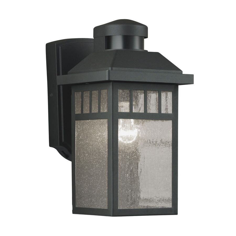 Shop portfolio 115 in h black motion activated outdoor wall light shop portfolio 115 in h black motion activated outdoor wall light at lowes mozeypictures Gallery