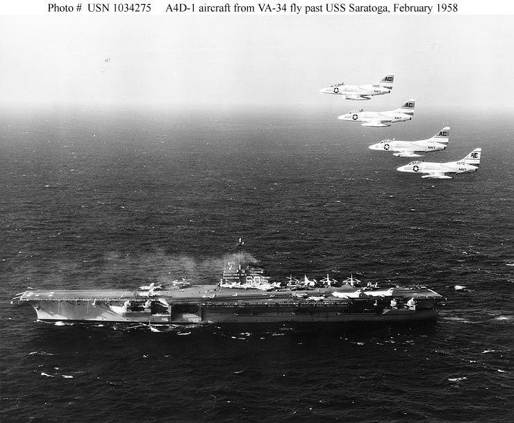 USS Saratoga and 4 A4 Skyhawk February 1958