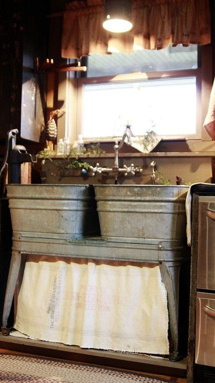 rustic kitchen sink dark wood table love this great idea for a tiny home