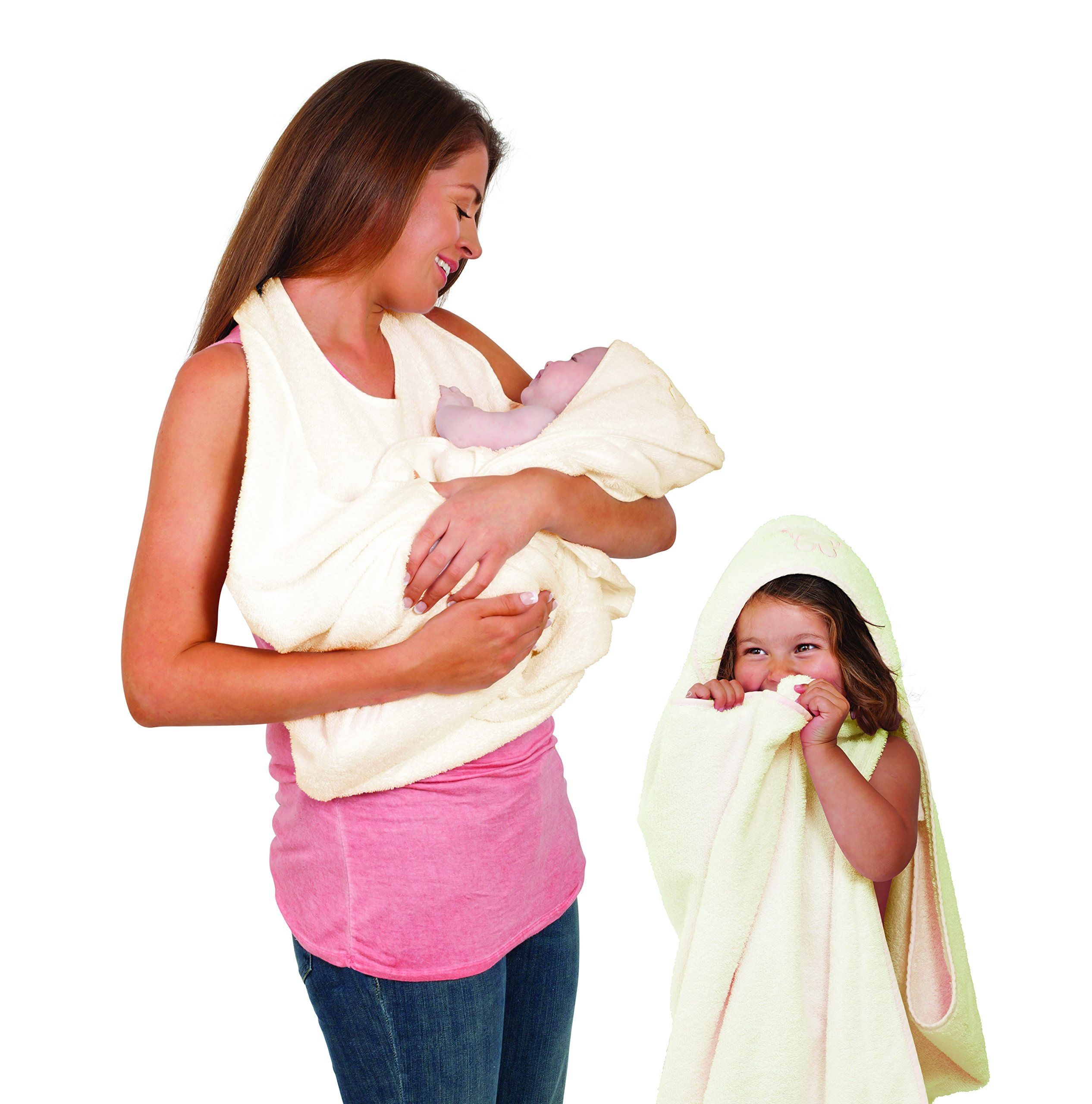White Baby Hooded Bath Towel Hands Free Apron