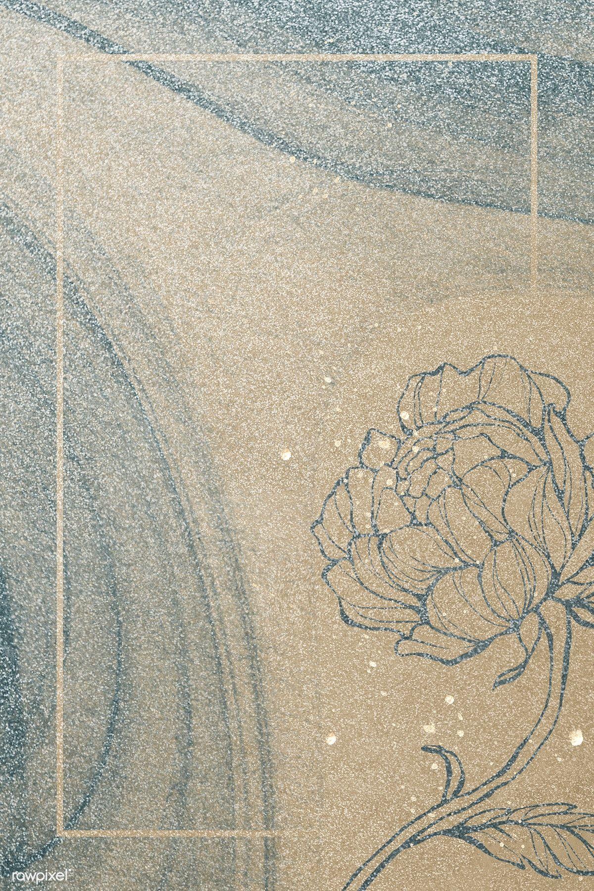 Download premium illustration of Rectangle gold frame with outline flower
