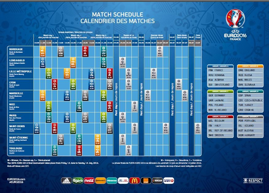 uefa euro 2016 football tournament fixtures schedule. Black Bedroom Furniture Sets. Home Design Ideas