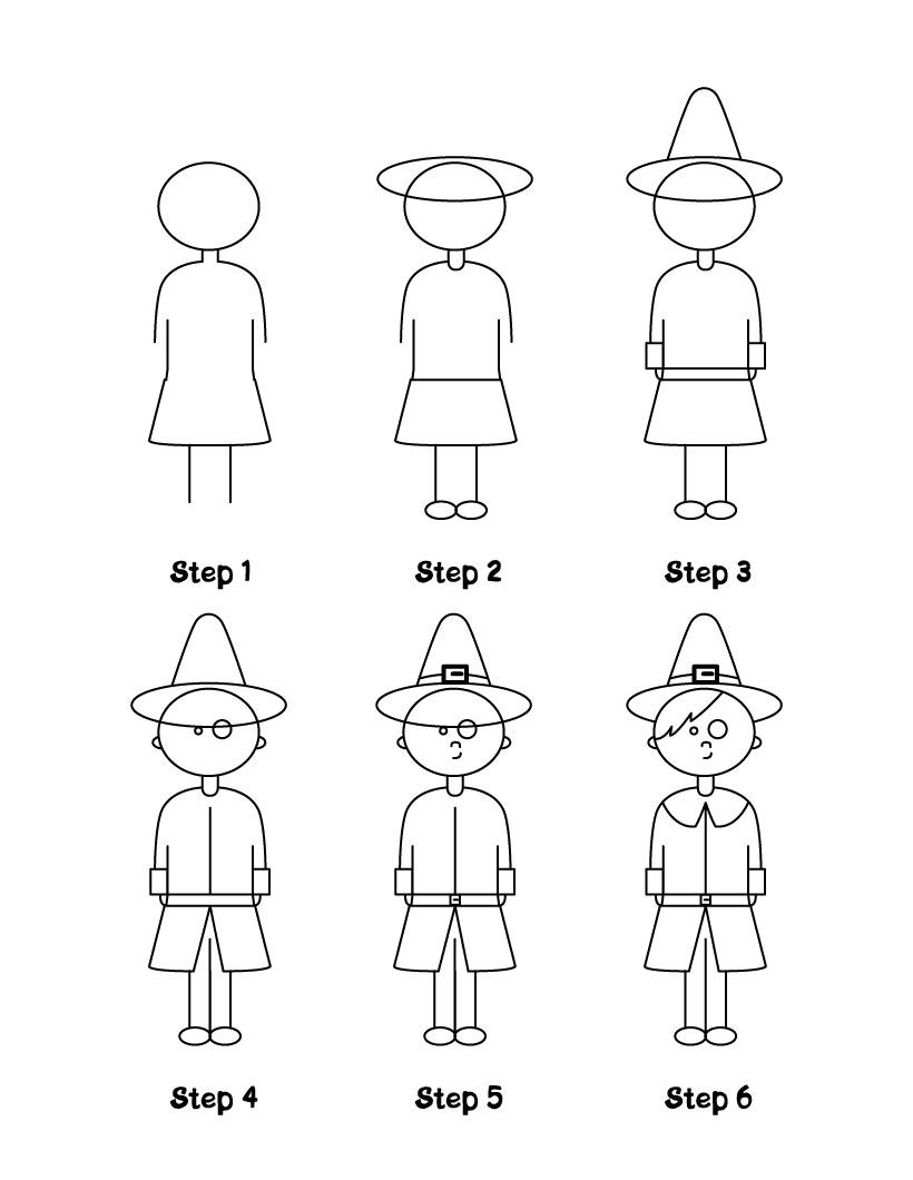 how to draw thanksgiving turkey pilgrim boy and native