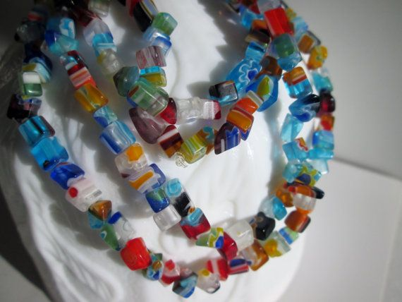 Multi Color Necklace Glass Chip Jewelry by AGiftForMySister