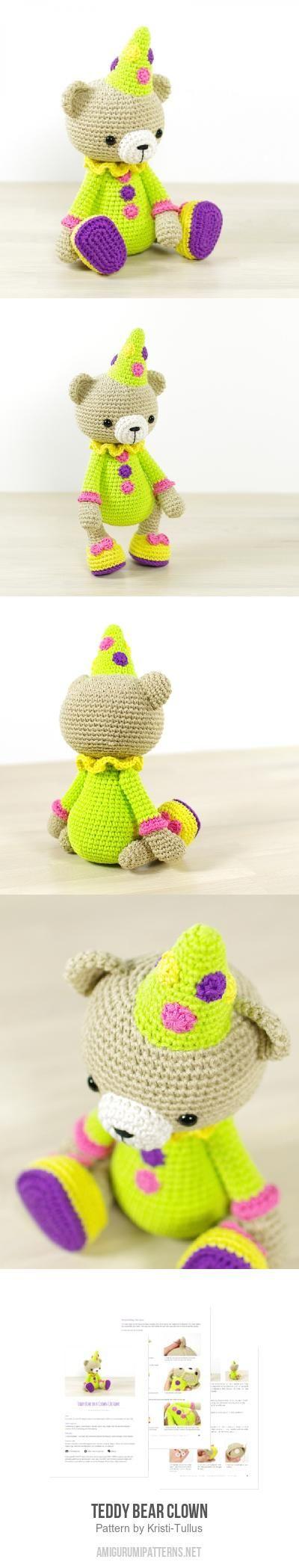 Teddy Bear Clown amigurumi pattern by Kristi Tullus | Osos, Patrones ...