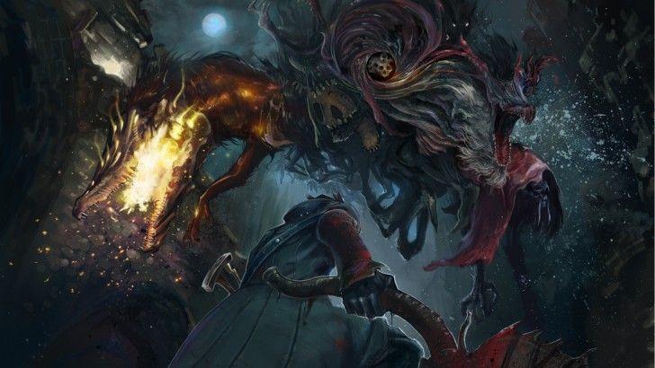 Download bloodborne hunter fighting monster game art - Bloodborne download ...