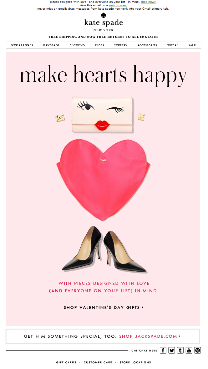 Kate Spade Valentine S Day Email 2015 Email Holiday Valentine S