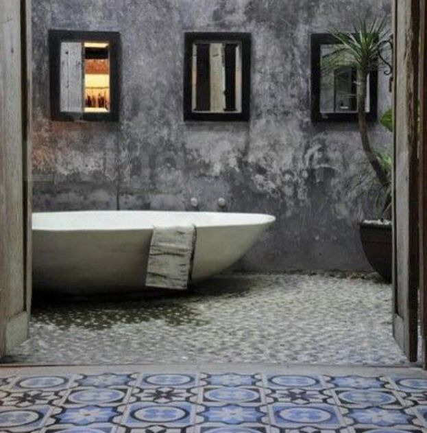 Outdoor Bath. Beautiful mix of moody textures.