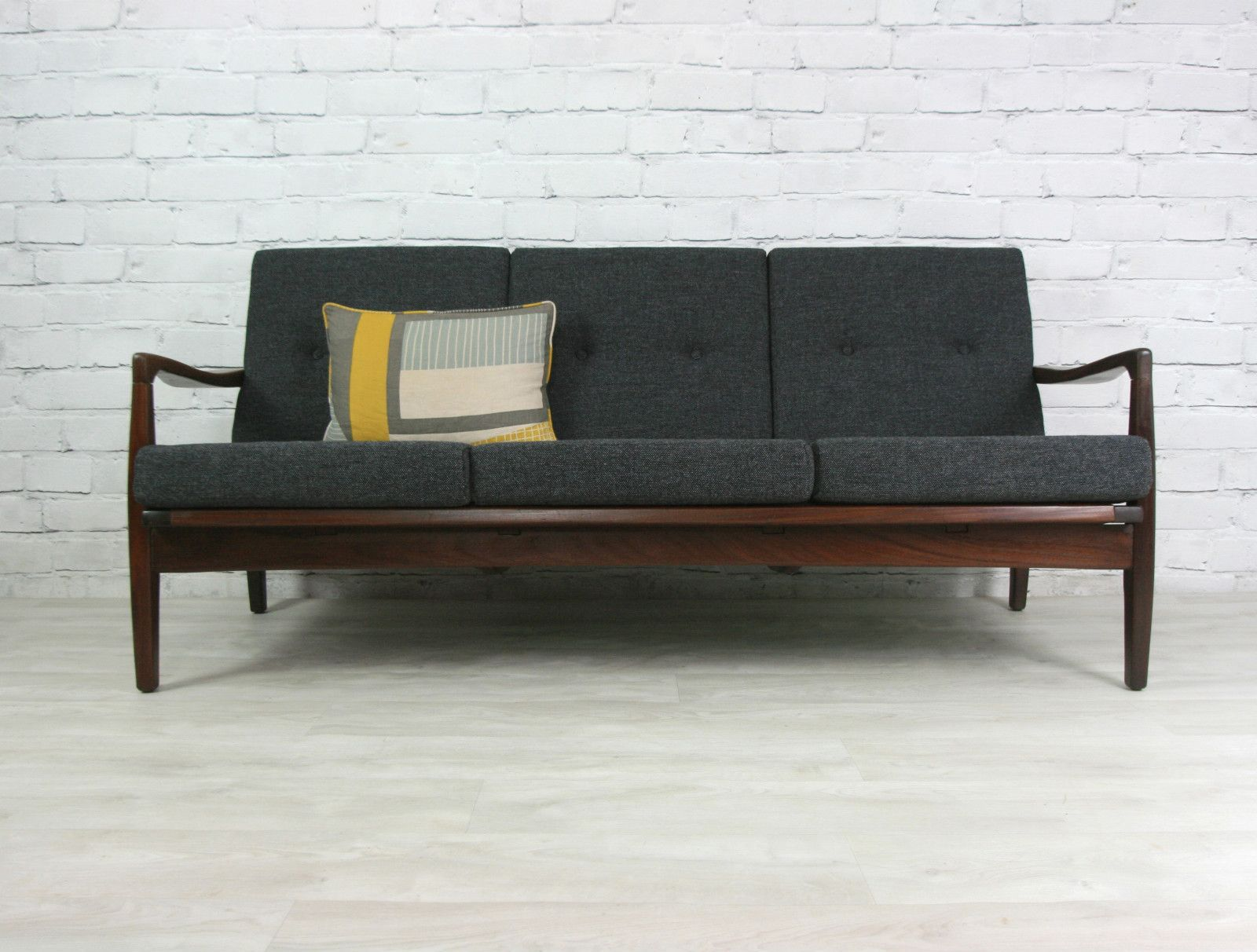 retro vintage teak afromosia mid century danish style sofa. Black Bedroom Furniture Sets. Home Design Ideas
