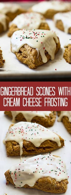 These Gingerbread Scones with Cream Cheese Frosting are like a gingerbread cookie only in breakfast form!! #icingfrosting