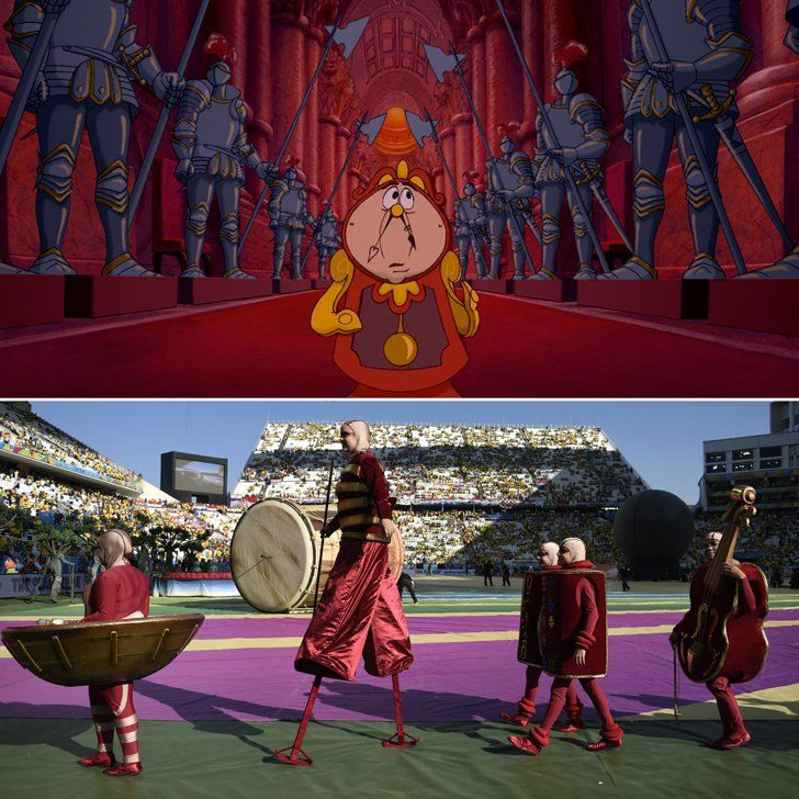 Pin for Later: Does the World Cup Opening Ceremony Remind You of a Disney Cartoon?  The deep red color? Objects with faces? How very Beauty and the Beast. Source: Disney, Getty / ODD ANDERSEN
