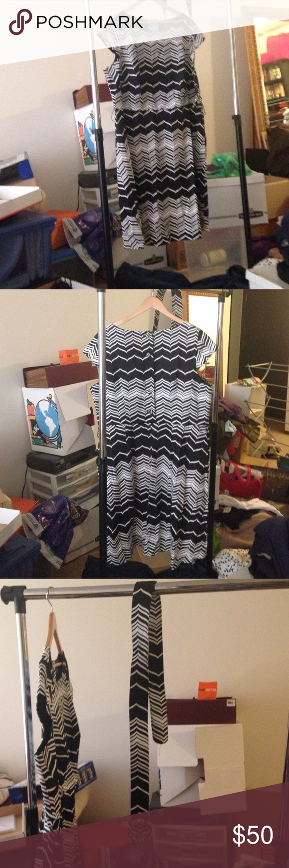 Beautiful black & white dress w belt. Great everyday dress. Comes with a belt. Buttons in the back. Also have side pockets. Spense Dresses Dresses