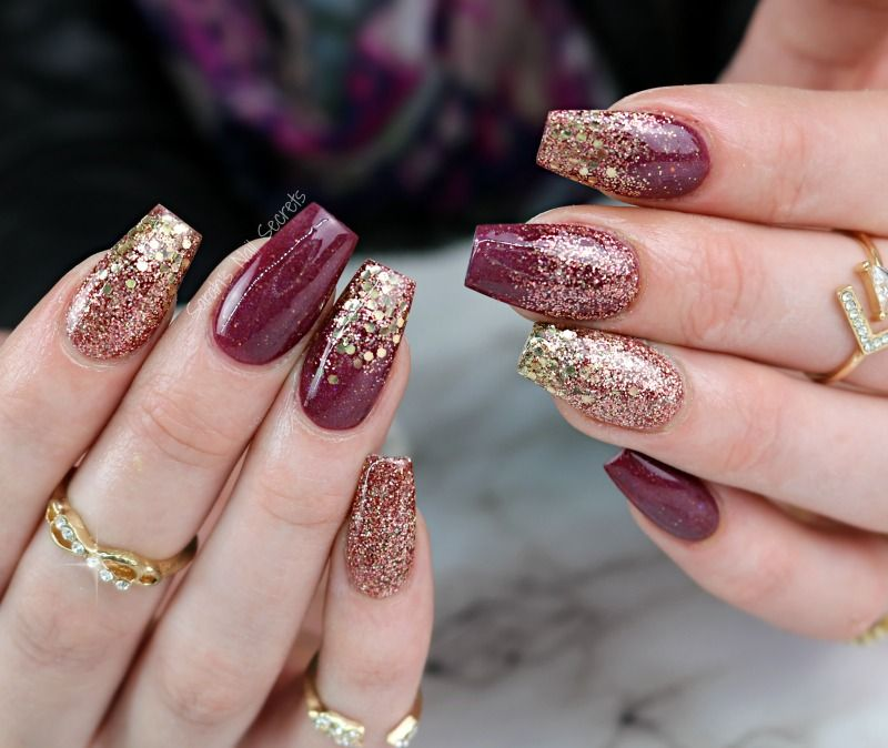Maroon and gold nails | Beauty | Pinterest | Gold nail, Gold and Prom