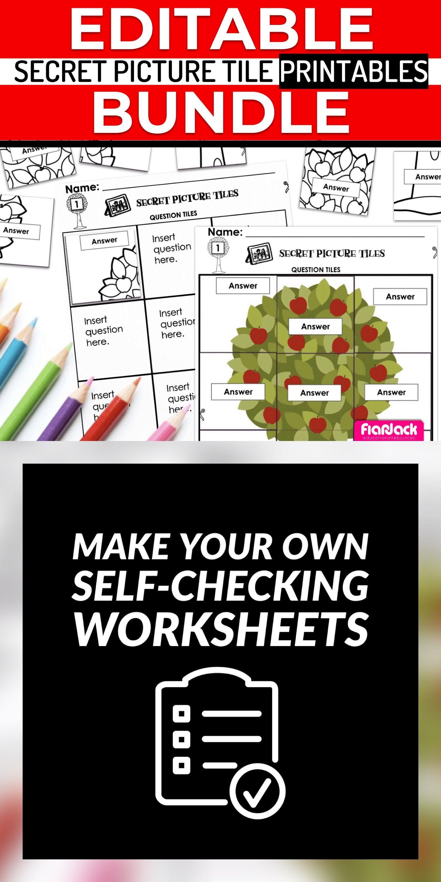 Editable Secret Picture Tile Printables Seasonal Bundle
