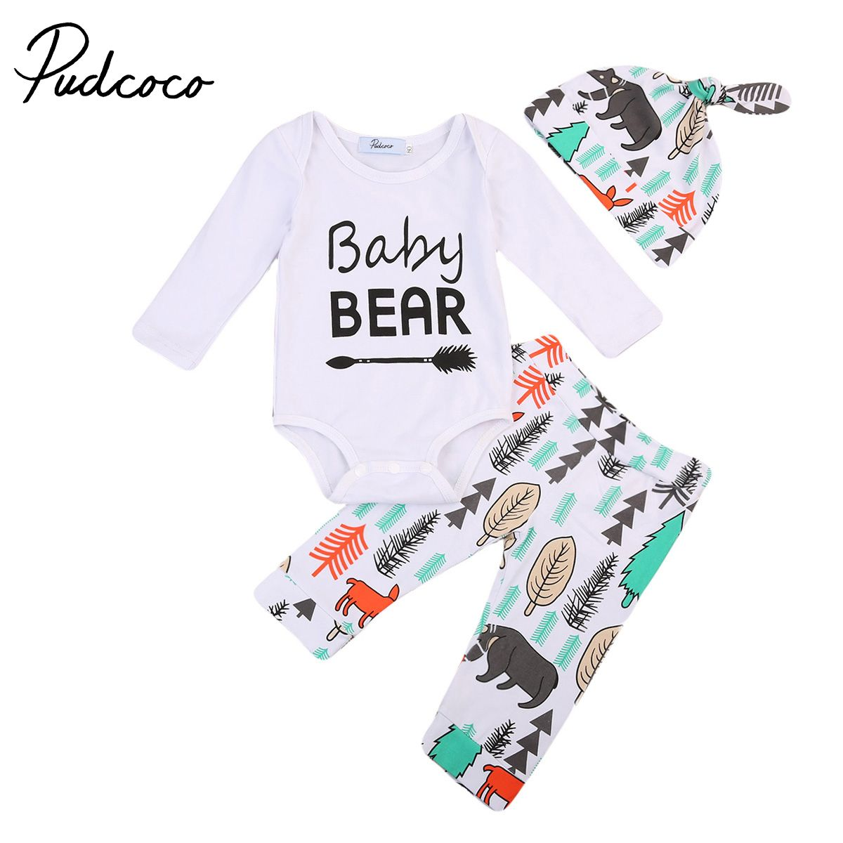 Casual Toddler Baby Boys 3pcs Outfit Set Winter Long Sleeves Cross T-Shirt Top Hat Cap Clothes Pant