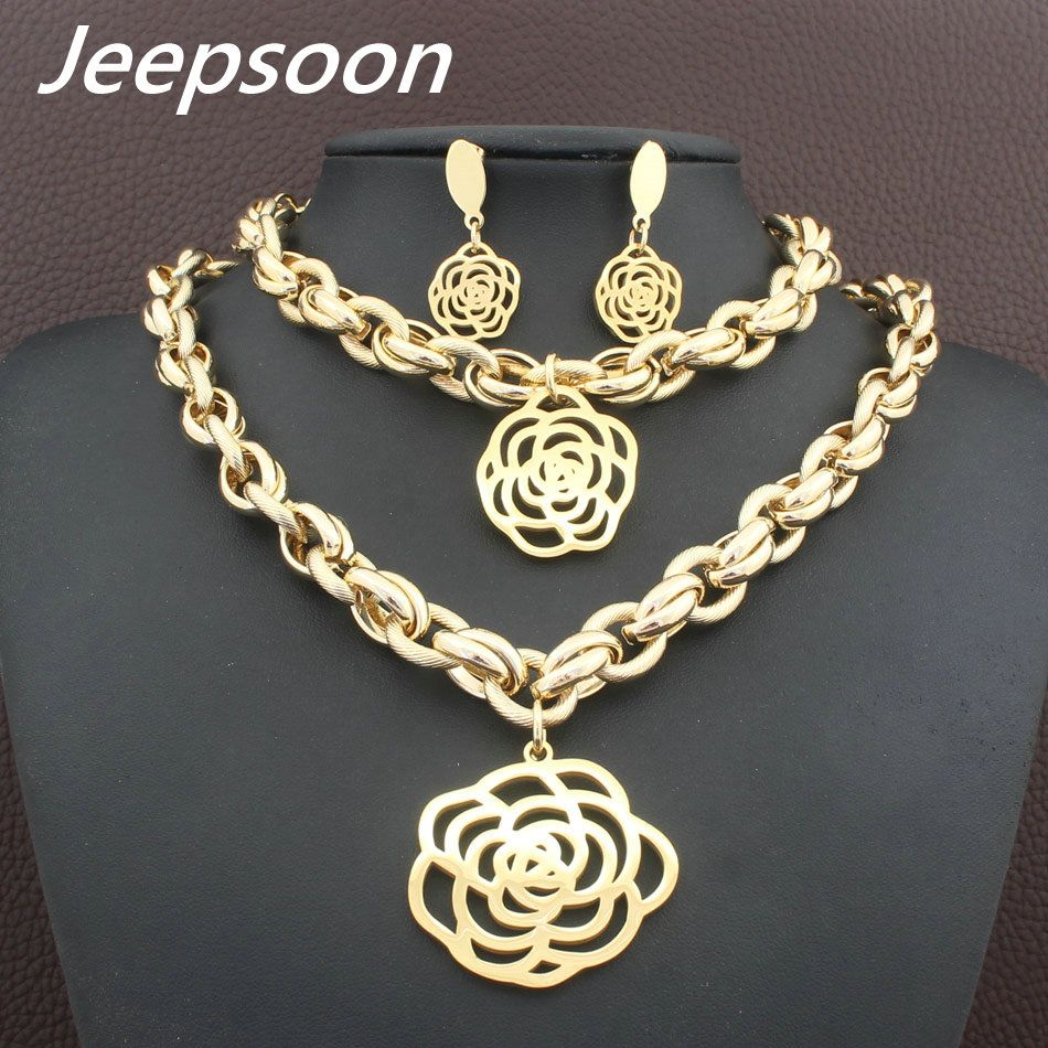Newest stainless steel fashion flower rose jewelry gold color