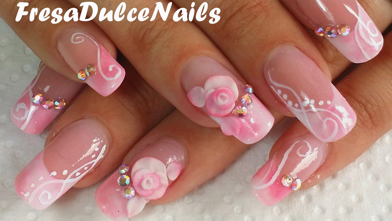 Decoración Uñas acrílicas efecto mármol rosa 3d- Marble acrylic ...
