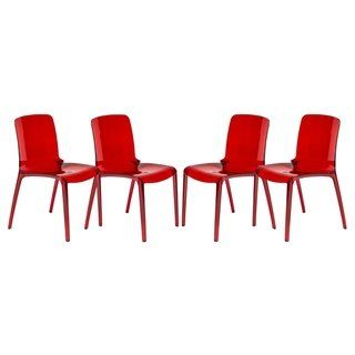 Leisuremod Laos Modern Transparent Red Dining Chair Laos
