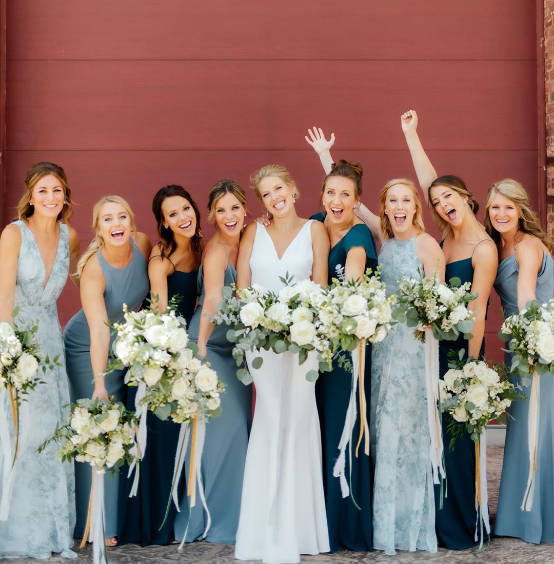 Jenny Yoo Collection On Instagram Slayed The Mix And Match Hues Of Blues Colors Blue Bridesmaid Dresses Green Bridesmaid Dresses Summer Bridesmaid Dresses [ 1100 x 1080 Pixel ]