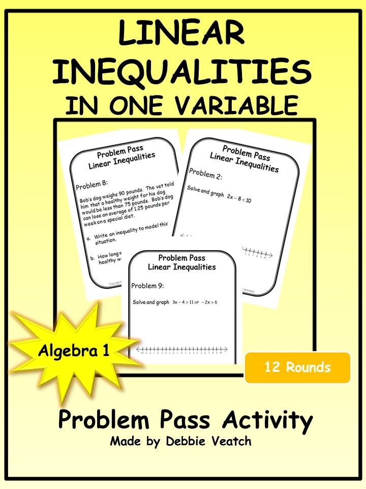 Linear Inequalities in One Variable Problem Pass Activity | Word ...