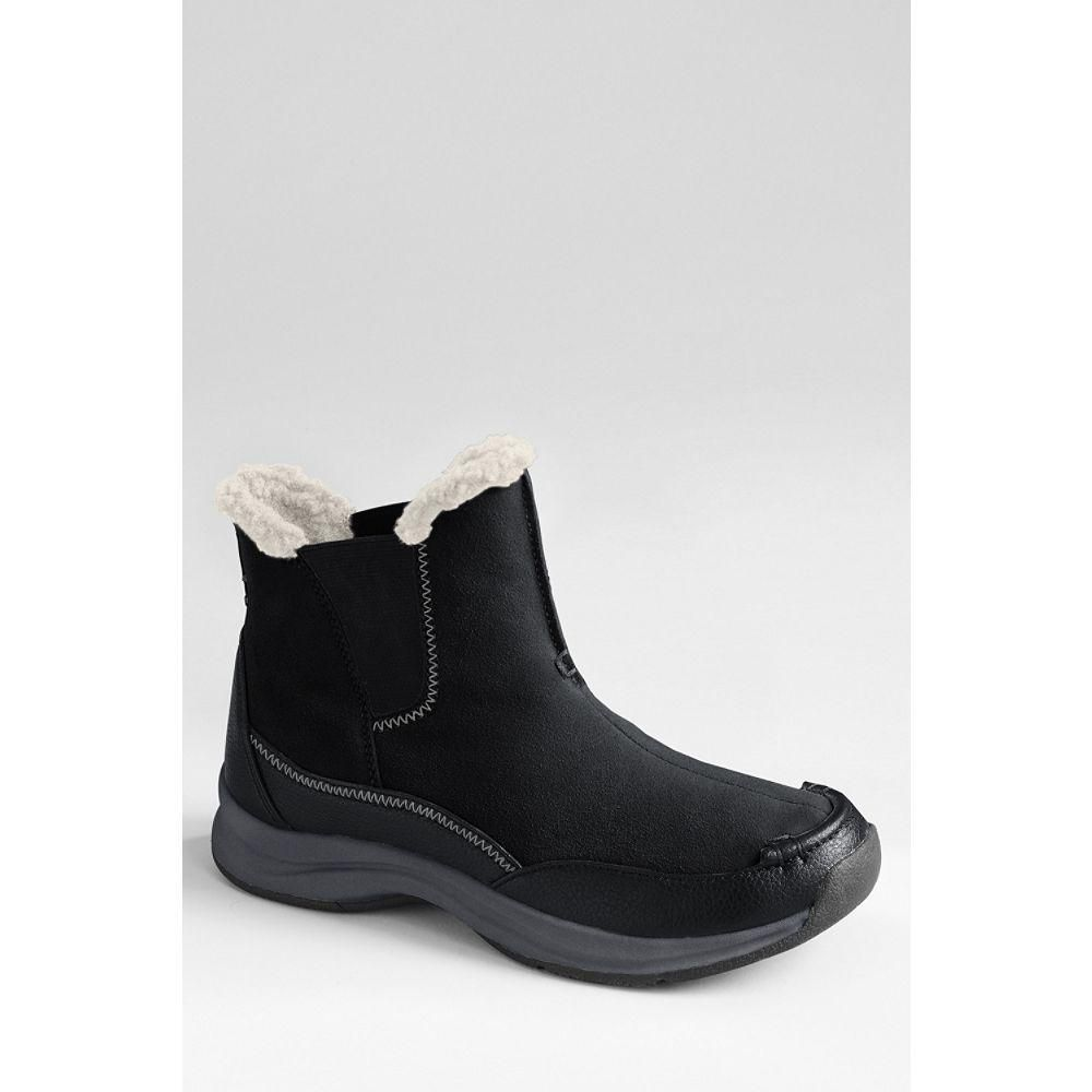Lands End Women's Cold Weather Shearling Booties - Black