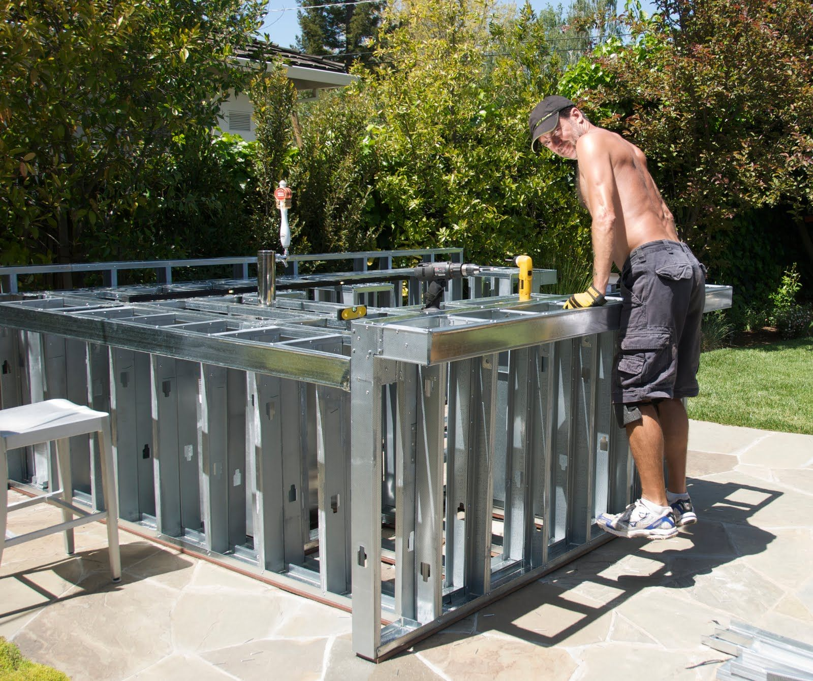 Riveting Outdoor Kitchen Island Frame Kits With Brushed Stainless ...