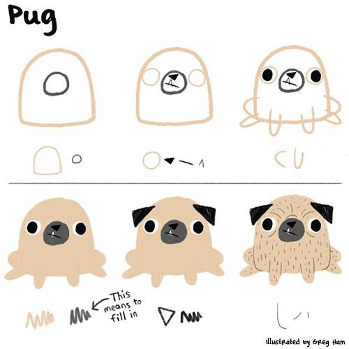 How To Draw A Pug Using Very Basic Shapes Like Ed Emberley Style
