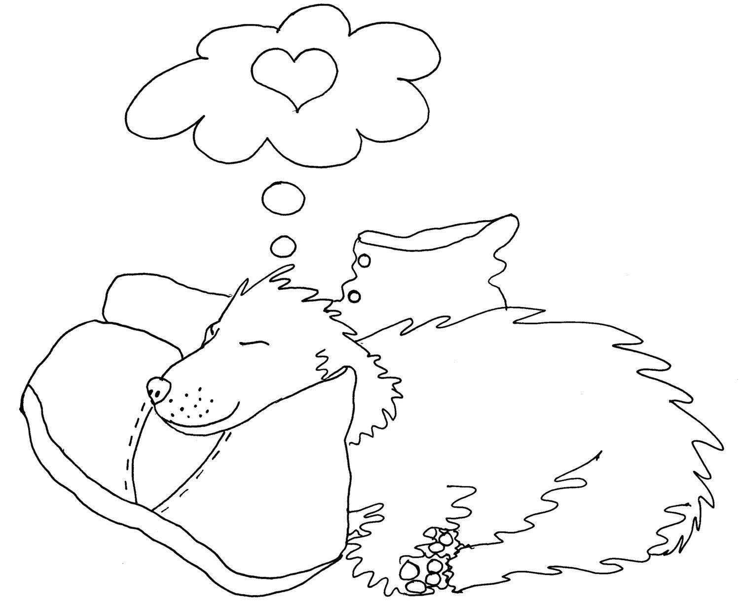 Puppy Love Cute Adult Coloring Page by Chubby Art Cartoons DIY