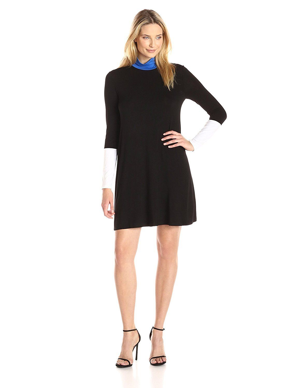 Bcbgmax azria womenus elsey longsleeve turtleneck colorblock dress