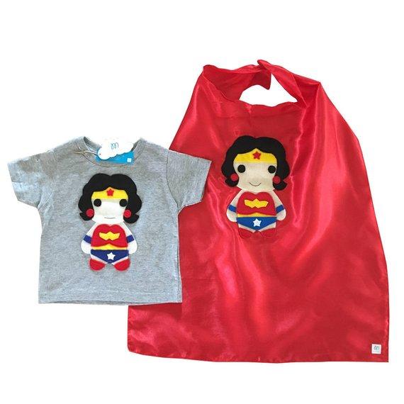 6100a6ec76fbb Kids Superhero Combo - Wonder Girl - Kids Tee & Cape - Children's ...