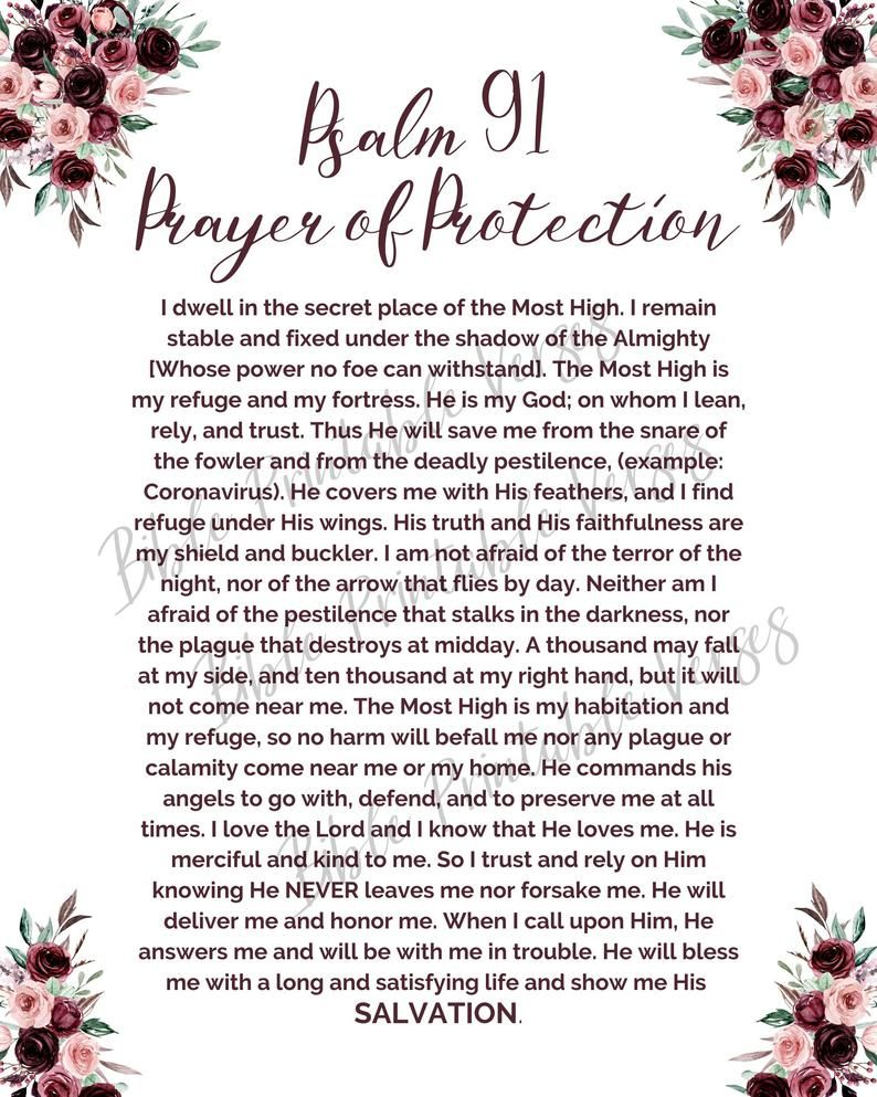 Psalm 91 Prayer of Protection from danger and from
