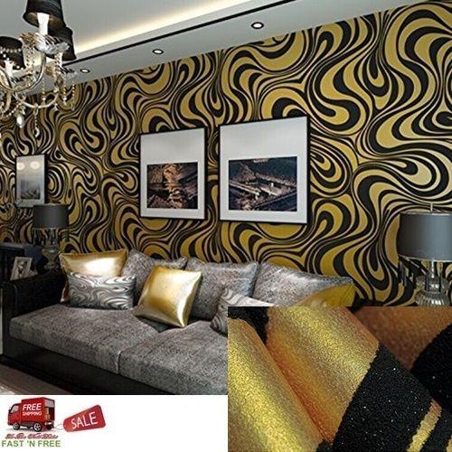 6178 SQFT 3D Wallpaper Gold Vinyl Embossing Textured Modern Background TV Decor QIHANG