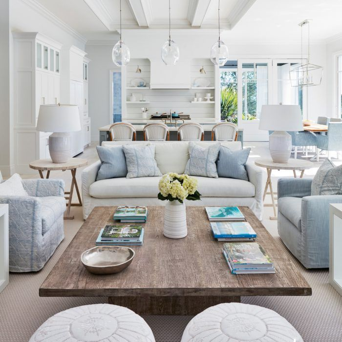 Soft Blues And Whites Fill A Serene Florida Retreat Luxe Interiors Design Living Room Coffee Table Living Room Decor Apartment Apartment Living Room