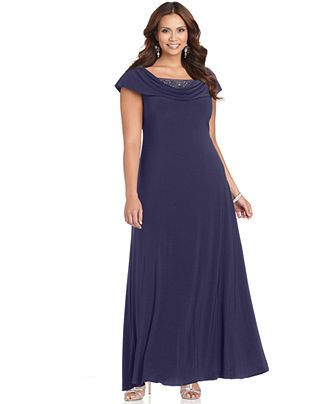 Patra Plus Size Dress Cap Sleeve Beaded Cowl Neck Evening Gown