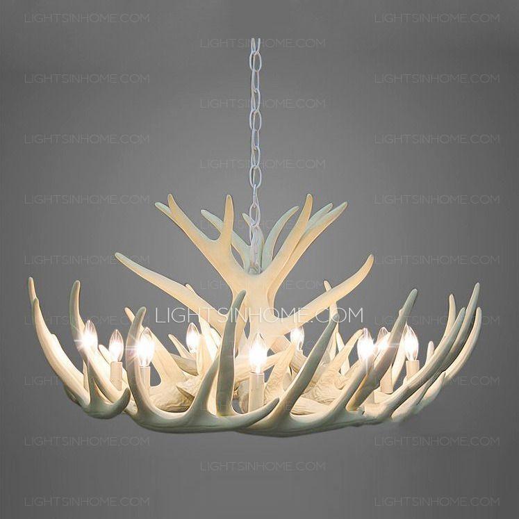 Antler Chandelier Lamp Pendant, Modern White Antler Chandelier