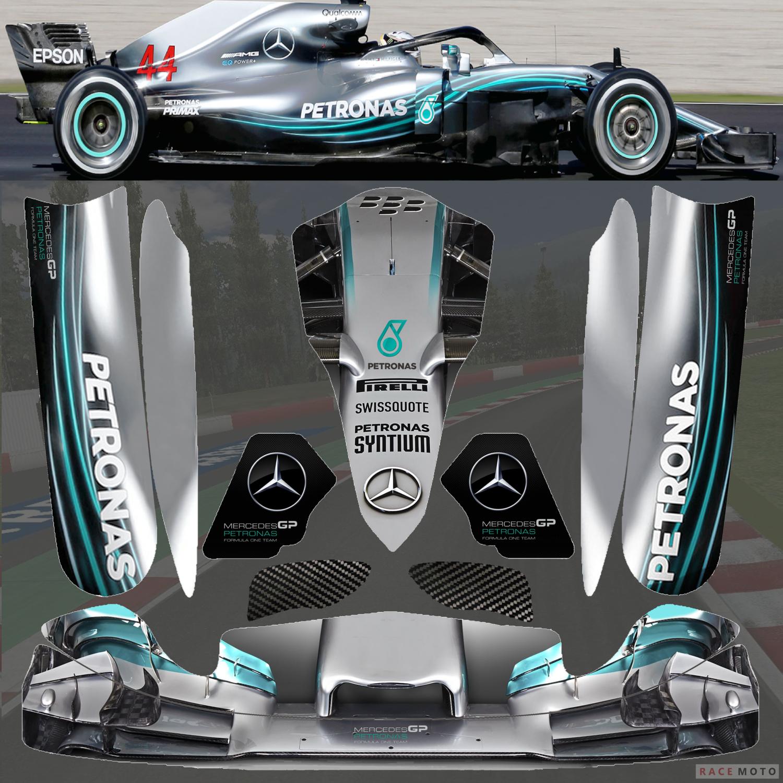 New 2018 F1 Mercedes Benz Sticker Kit For Tonykart Otk M4 Pods Nosecone Nassau Panel Go Kart Karting Sticker Kits [ 1500 x 1500 Pixel ]