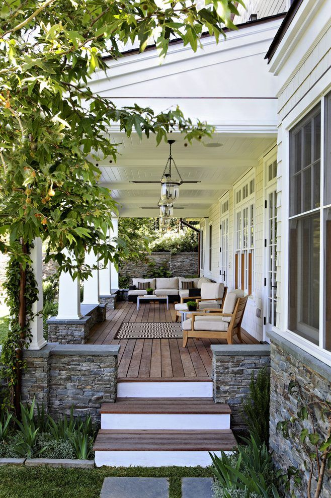 Porch Porch Traditional With Lounge Furniture Stone Pillars Wood