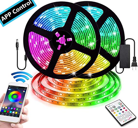 Amazon Com Smart App Controlled Color Changing Led Strip Lights 32 8ft Smd 5050 Rgb Led Lights With Blue In 2020 Led Strip Lighting Strip Lighting Color Changing Led