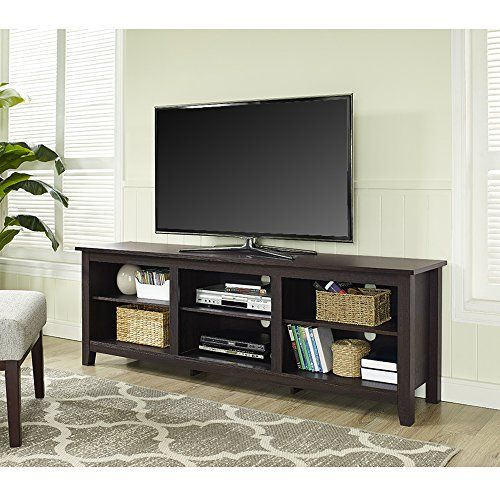 We Furniture 70 Espresso Wood Tv Stand Console Visit The Image Link More Details Note It Is Affili Tv Stand Wood Wood Tv Stand Rustic Wood Corner Tv Stand