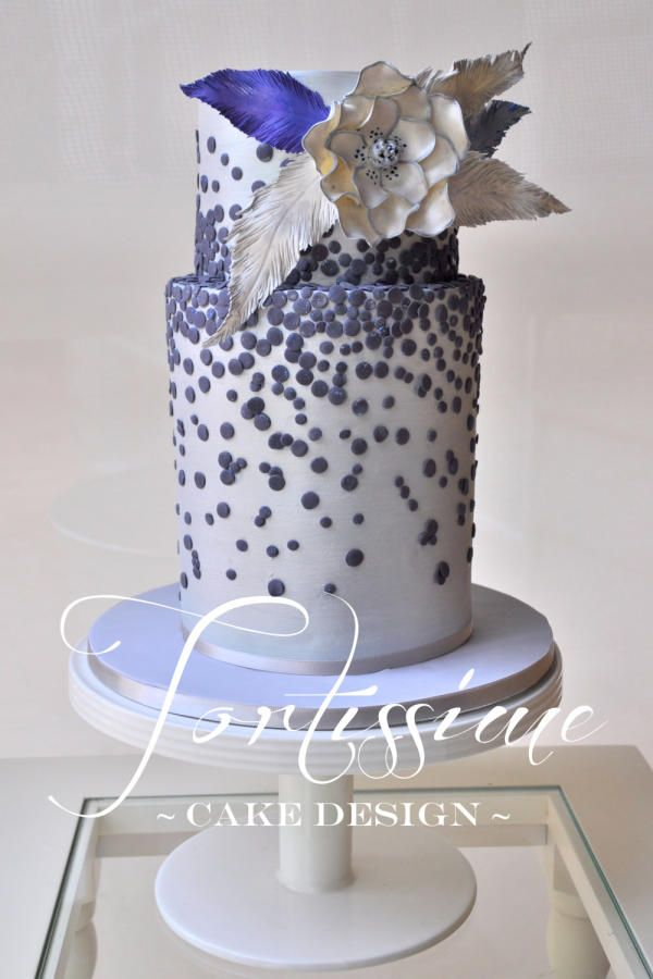 Navy Sequins Feather cake