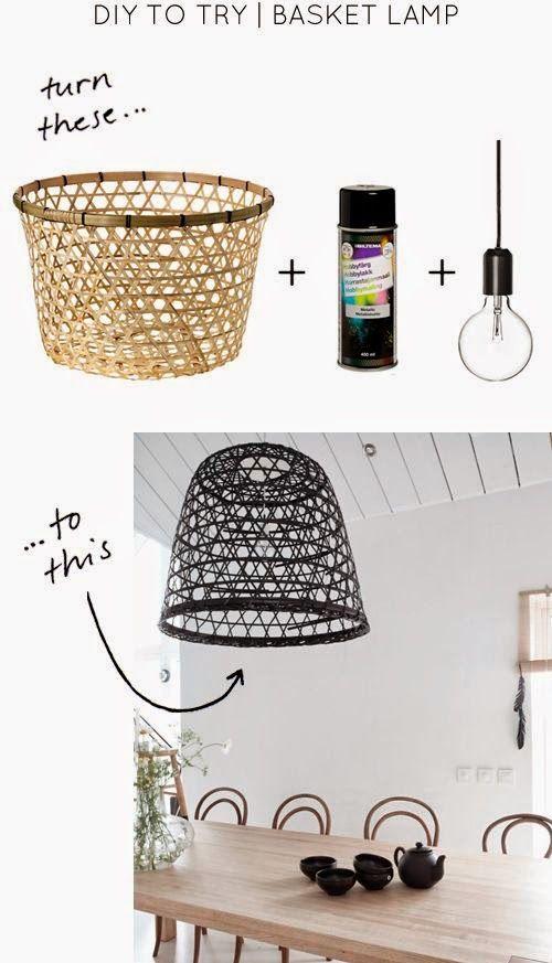 Luminárias alternativas Arte de brincar Diy pendant light, DIY Home Decor e Basket lighting