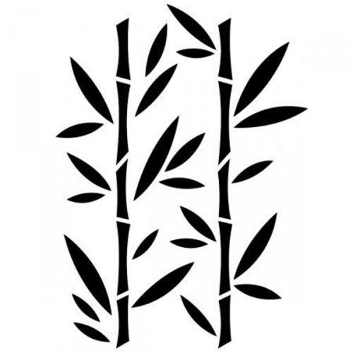 Pochoir Bambou - 21x30cm Pochoir, Bambou et Gravure sur verre