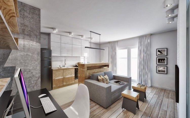 Wohnungseinrichtung Ideen Wohnzimmer Kueche Weiss Holz Grau Raumplanung