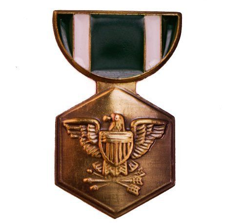US United States Navy Commendation Medal Pin Sujak Military Items. $5.95. Quality craftsmanship. 1 1/8 inch height. 2 metal clasps for secure wear