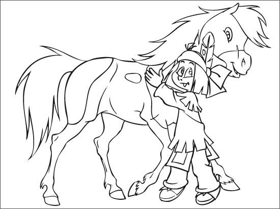 yakari et petittonnerre avec images  coloriage