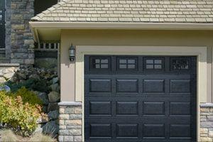 black garage doorsHaas Model 680 Garage Door In Cool Black with Coloniial Windows