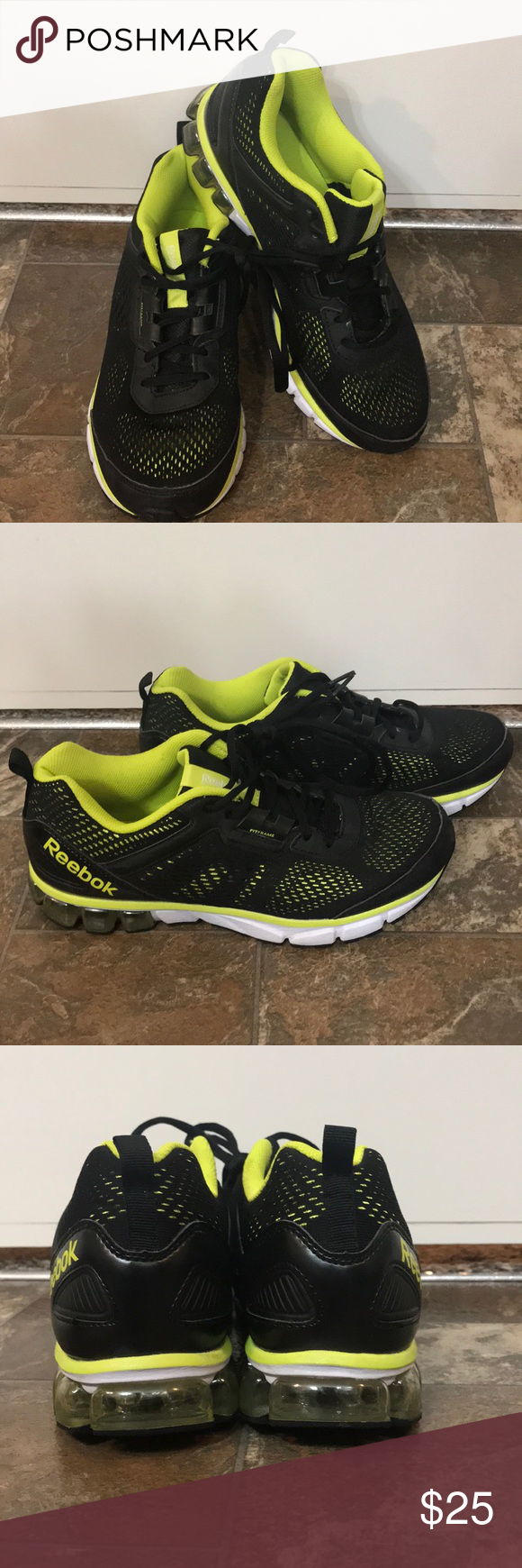 702ae3216056 Reebok running shoe Black and neon green mens Reebok running shoe in good  condition! Reebok Shoes Athletic Shoes