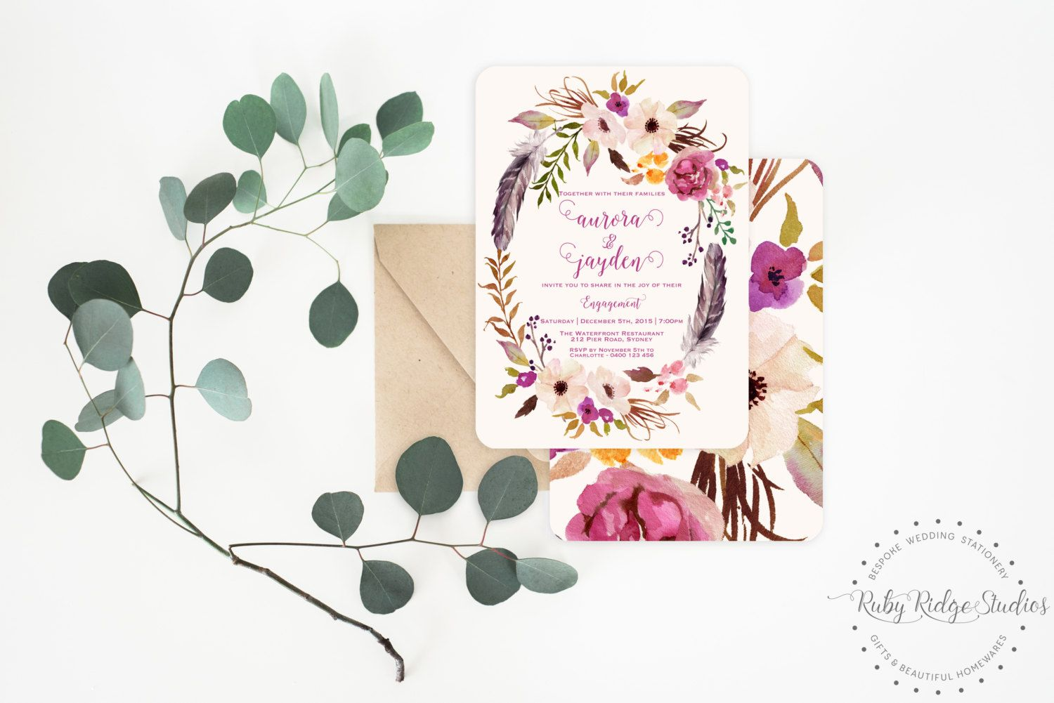 Printable engagement invitation romantic watercolor floral wedding