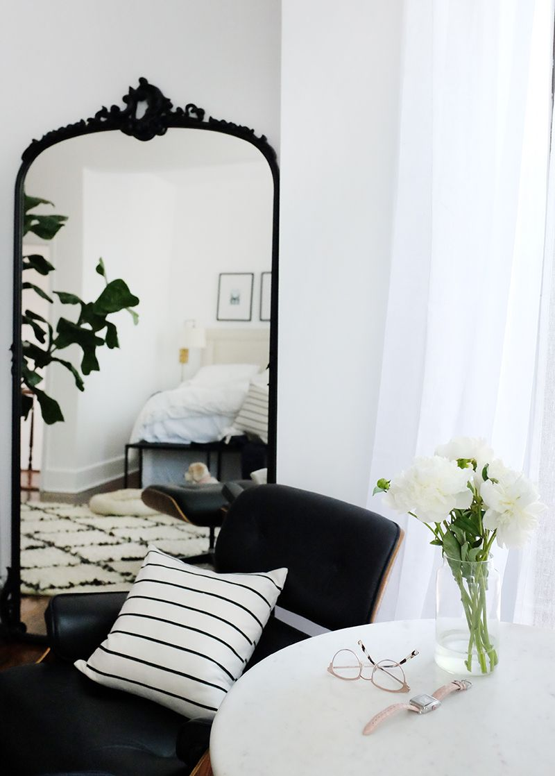 simple elegant black and white bedroom design, alaina kaczmarski