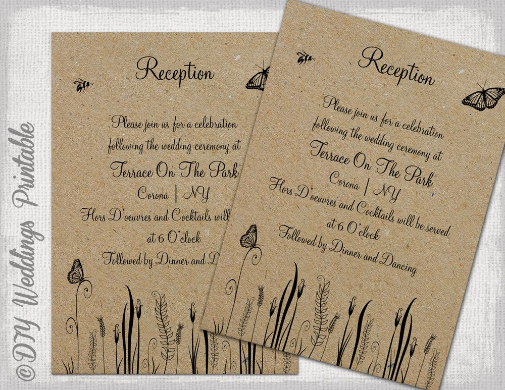 Reception Invitation Template Rustic Diy By Diyweddingsprintable